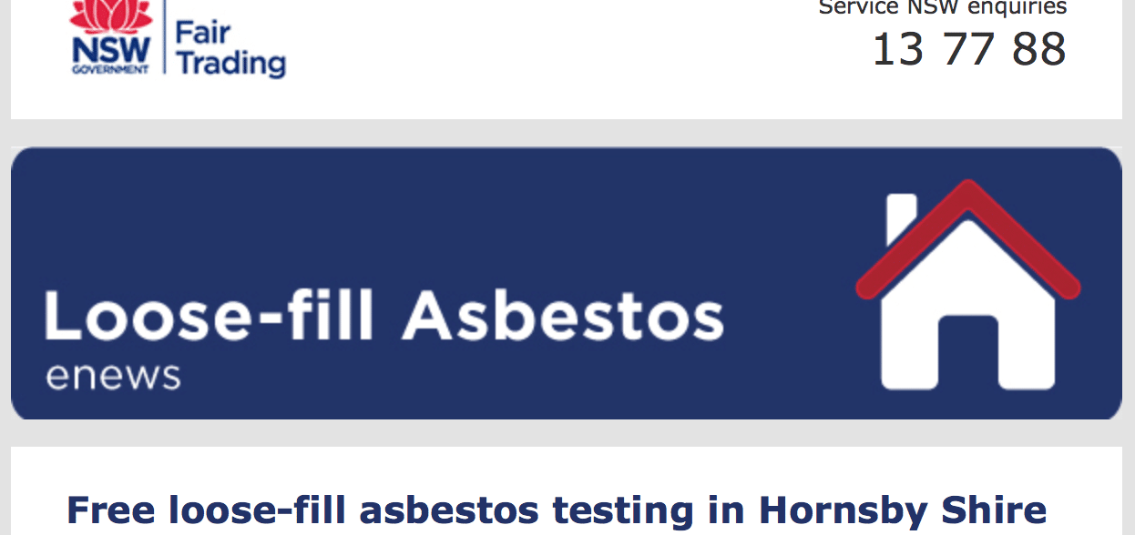 FREE LOOSE FILL ASBESTOS TESTING IN HORNSBY SHIRE